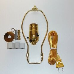 Jug Or Bottle Lamp Adaptor Kit With 8 Harp And Brass Finial New 30342jb