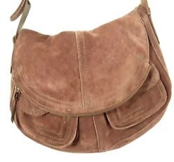 Lucky Brand Suede Leather Boho Fold Over Shoulder Bag Purse Tote Brown $45.00
