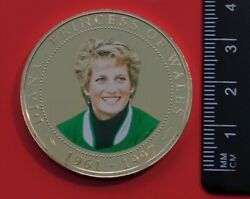 Royalty 1 Coin Cook Islands 2007 Princess Diana In 1994 Theme Park Visit And Coa