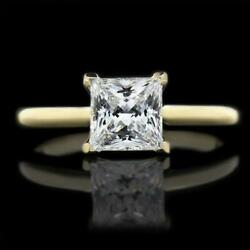Princess Square Diamond Ring 14 Kt Yellow Gold Four Prong Si2 D Solitaire 1.1 Ct