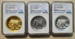 3 Pcs Of Ngc 70 2018 China Silver 60g Medals - Thailand World Stamp Exhibition