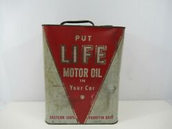 Life Motor Oil 2 Gallon Can Service Station Car Fluids Vintage Red White Tin