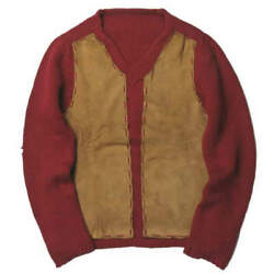 Belle Maille medium gauge leather patch V neck knit XS wine-red sweater tops