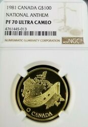 1981 Canada Gold 100 National Anthem Ngc Pf 70 Ultra Cameo Scarce Perfection