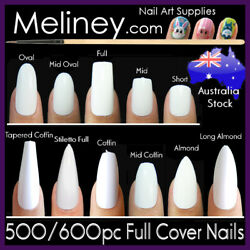 500/600pc Full Cover Nail Extensions Short Long Fake Nails Tips Coffin Almond