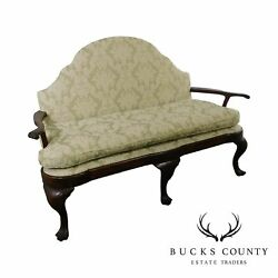 Queen Anne Style Antique Custom Mahogany Settee