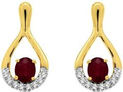 .94ct Diamond And Aaa Ruby 14kt Yellow Gold 3d Classic Tear Drop Hanging Earrings