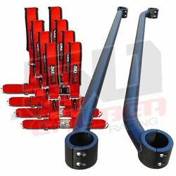 Can Am Clamp-on Roll Cage Harness Bar Kit Red 4 Point Belts Commander Max Xrs