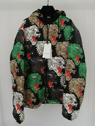 Mens Angry Panther Hooded Padded Shell Down Jacket Sz 50 Us L Rrp 2450