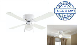 42 Inches Ceiling Fan With Light White 4 Blades Modern Hugger Indoor