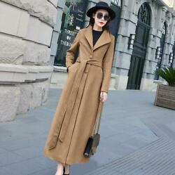 Winter Ladies Long Cashmere Coat Outwear Wool Parka Casual Single Breasted S-5xl