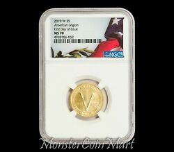 2019-w 5 Gold American Legion Ngc Ms70 First Day Of Issue - Super Low Mintage