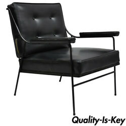 Wrought Iron And Black Vinyl Lounge Chair Attr Milo Baughman For Pacific Iron