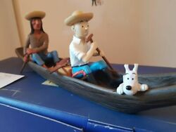 Extremely Rare Tintin With Snowy And An Indian In Boat Figurine Statue