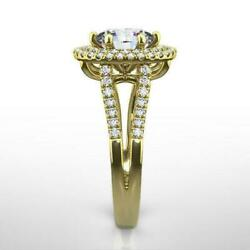 Diamond Double Halo Ring 1 3/4 Ct 18k Yellow Gold Betrothal Si2 Size 7 8 9