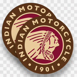 2x Indian Motorcycle Vinyl Decals Stickers Logo Chief Scout Head Motorcycle