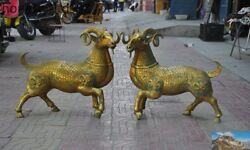 Old China Dynasty Bronze Gilt Fengshui Animal Auspicious Sheep Goat Statue Pair