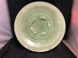 Large Antique Chinese Celadon Plate With Fish Design
