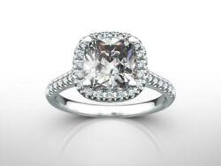Diamond Halo Ring 1.69 Ct Colorless 4 Prong 14k White Gold Size 5.5 6.5 7 9