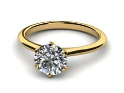 Diamond Round Shape Ring 1.11 Ct Solitaire Colorless Knife Edge 14k Yellow Gold
