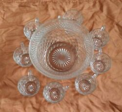 Vintage Anchor Hocking Glass Clear Punch Bowl And 8 Cups And Base 9 Piece Set