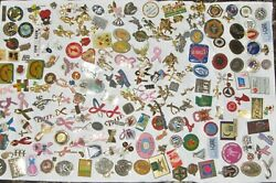 Lot Of 154 Vintage Lapel Pins Breast Cancer Ribbons, Angels, Medical, Religious
