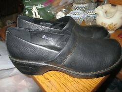 BLACK LEATHER BORN SHOES MULES CLOGS QUALITY HEEL SIZE 10 GREAT SHAPE