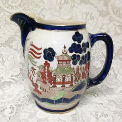 Vintage Rare 1908 Buffalo Pottery 7.5in X 7.5in Gaudy Willow Pitcher