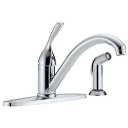 Delta Classic Single Handle Kitchen Faucet With Sprayer