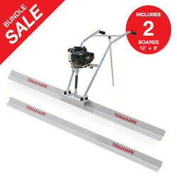 Power Screed Vibratory Bull Float 12ft And 8ft Blade Set Concrete Finishing Tool