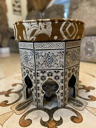 Exotic Wooden Mosaic Inlaid Mother Of Pearl Marquetry Syrian Padded Foot Stools
