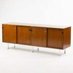 1960and039s Vintage Florence Knoll Walnut And Leather Credenza Cabinet Sideboard