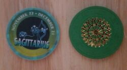 2 Chip Lot 1 Green Paulson Starburst And 1 Sagittarius Top Hat And Cane Poker Chips
