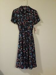 New With Tags Dress Nanette Moody TREASURES SIZE 2 Floral button down MSRP $128