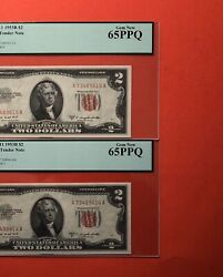 1953-b-2 Consecutive 2 Legal Tender Notesgraded By Pcgs Gem New 65 Ppq