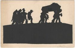Soldiers With Coffin - Wwi German Army Silhouette Postcard