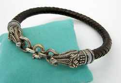 Vintage Barry Kieselstein Cord Sterling Silver Double Alligator Brown Necklace