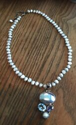 New Women Genuine Natural Freshwater Pearl Necklace W Pendant