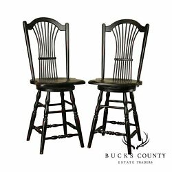 Country Home Black Painted Wheat Back Swivel Counter Stools