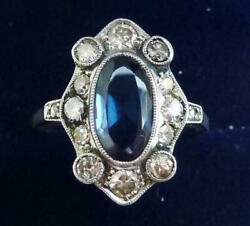 Beautiful Art Deco 18ct White Gold 2ct Sapphire And Diamond Cluster Ring