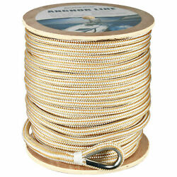 5/8 X 250and039 Double Braid Nylon Rope Anchor Line With Stainless Thimble Dock Line