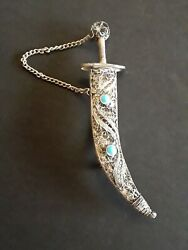Antique 1880's Sword Pendant 925 Sterling Silver Clip On Rare Vintage Jewelry