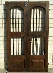 Primitive Antique Wooden Double Doors With Hand Wrought Iron Bars H 63 X W 38