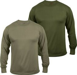 Mens Moisture Wicking Army Solid Long Sleeve Silky Soft T Shirt