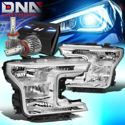 For 2018-2020 Ford F150 Pickup Truck Oe Style Headlight W/led Slim Style Chrome