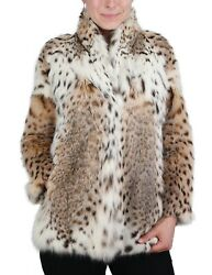 Small DESIGNER AMERICAN LYNX FUR JACKET COAT - BEAUTIFUL MARKINGS! +STORAGE BAG