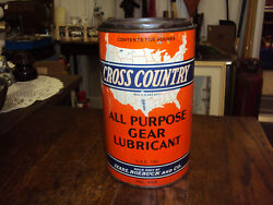 Vintage Advertising 5lb Cross Country Grease Can J-125