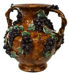 Antique Vase, French Palissy Style, Large, Majolica Handled, Grapes, 1800s