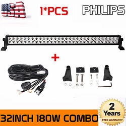 32inch 180w Philips Led Offroad Light Bar Suv Truck Boat Driving Ute W/ Harness