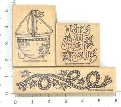 Whipper Snapper Lot 3 Rubber Stamps Sailboat Nautical Rope Smooth Sailing Stars